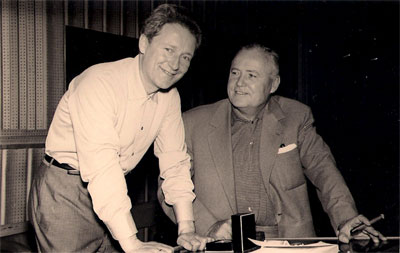 Lavagnino is here with director Henry Hathaway on a break during recording of the soundtrack of film Legend of the Lost (Timbuctu, 1957).